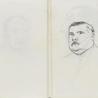 크로키 화첩 : 백지 : 남자의 정면 초상