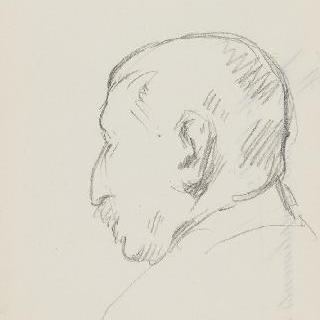 남자의 측면 초상 초벌화