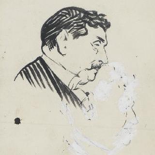 남자의 측면 초상과 초상화 초벌화