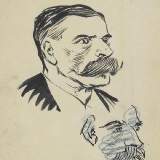 남자의 측면 초상과 지워진 남자 초상 초벌화