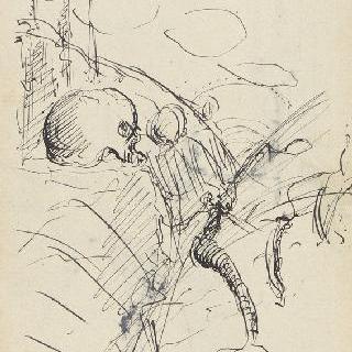 고목과 두개골이 있는 묘비