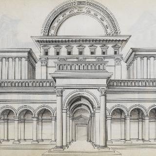 측면에 별관이 있는 둥근 천장과 작은 탑의 고대 사원