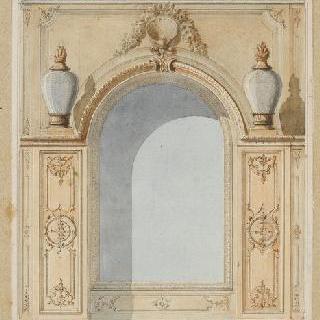 거울, 두 개의 등불 단지가 있는 벽
