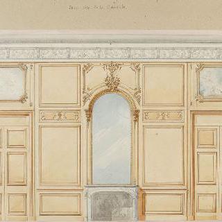 거울, 장식 그림, 문, 벽난로가 있는 벽