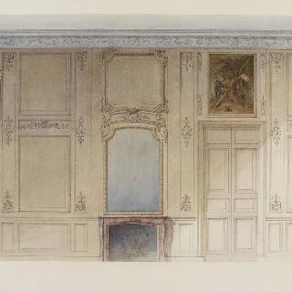거울, 벽난로, 문, 사냥 그림이 있는 벽