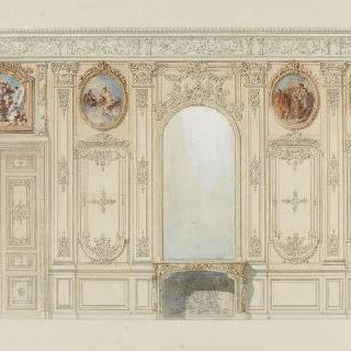 거울이 있는 벽과 벽난로, 문 위쪽에 붙은 장식 회화 4점