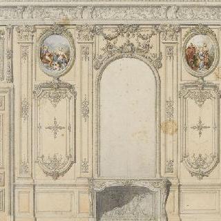 문과 거울, 네 개의 장식 그림, 벽난로가 있는 벽