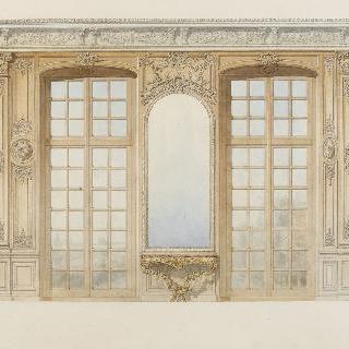 거울과 두 개의 창문, 까치발 테이블이 있는 벽
