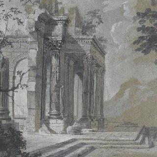 좌측에 폐허의 고대 건축물이 있는 풍경