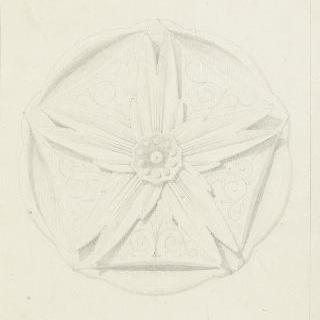 돌로 만든 꽃 원형 장식