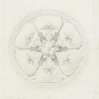 돌로 만든 꽃 원형 장식 이미지