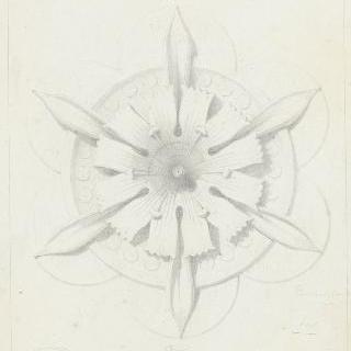 목재로 된 꽃 모양 원형 장식