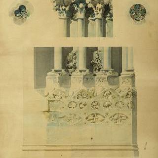 세 대성당의 정면 꽃 모양 원형 장식, 기둥머리, 토대