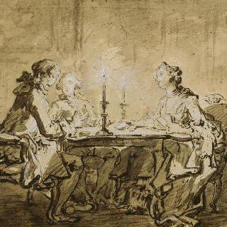 촛불 아래서 하는 카드 놀이, 또는 일명 카드 놀이를 하는 신사들과 숙녀