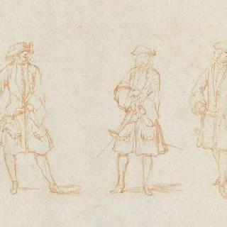 루이 15세 시대 의상을 입은 세 명의 남자