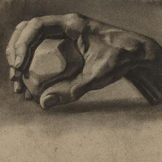 돌을 들고 있는 한 손 습작 (석고)