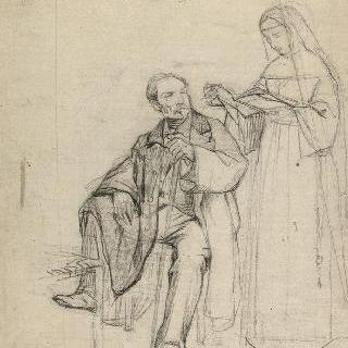 앉아 있는 남자 주변의 펼쳐진 책을 들고 있는 수녀