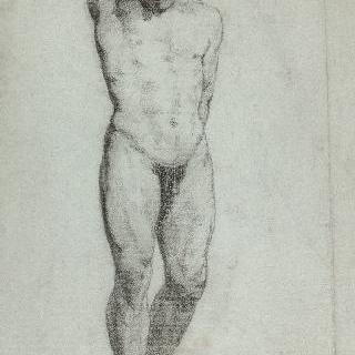 오른팔을 머리 뒤로 한 벌거벗은 남자의 앞모습