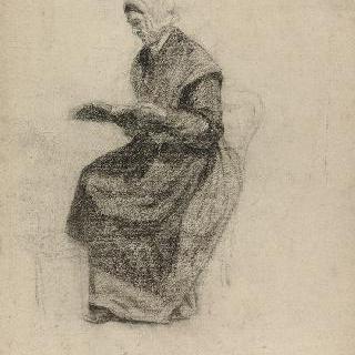 좌측을 향해 앉아서 독서하는 여인