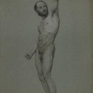 왼팔을 들고 있는 4분의 3상의 수염 난 나체의 남자