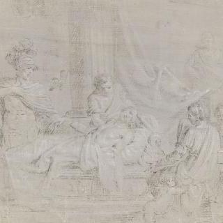 젊은이를 둘러싸고 있는 일곱 명의 고대 로마인