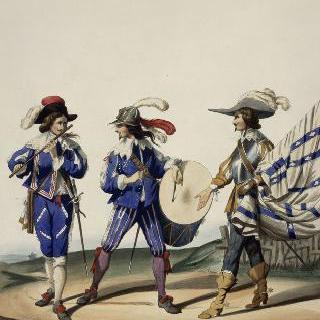 루이 13세 치하의 프랑스 수비 연대, 1630년 : 피리 병사, 북 병사, 기수