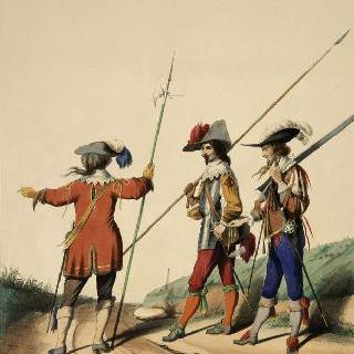 루이 13세 치하의 프랑스 수비 연대, 1630년 : 하사, 창병, 근위 기병