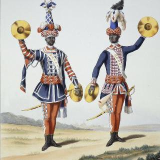 프랑스 수비 연대 : 정복 심벌즈 병사와 평상복 심벌즈 병사, 1786년