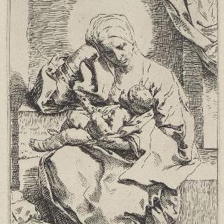 실에 묶인 새와 놀고 있는 아기 예수와 함께 있는 성모
