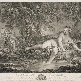 깜짝 놀란 목욕하는 여자, 글씨가 포함된 상태