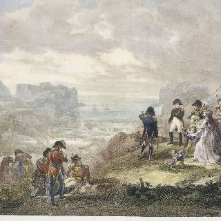 세인트 헬레나 섬의 제임스타운 언덕에서 바다를 보고 있는 나폴레옹과 그의 충복들