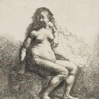 언덕 위에 앉아 있는 나체 여자