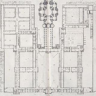 엥발리드 왕실관 건물들 일층의 전체 도면