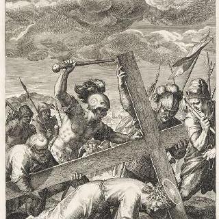 십자가 아래 쓰러지는 예수