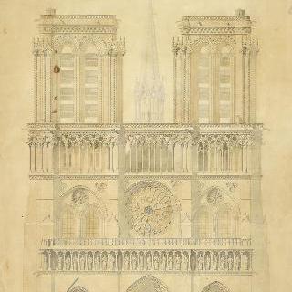 파리 노트르담 성당의 서양식 정면 직립 단면도