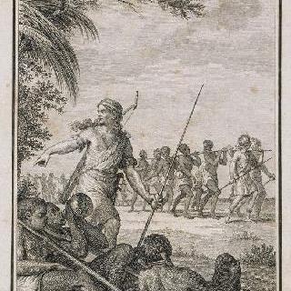 노예상에 끌려오는 노예들