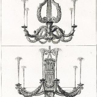 판 14 : 베르사유 테티스 동굴의 조개껍질과 조가비 장식의 두 촛대