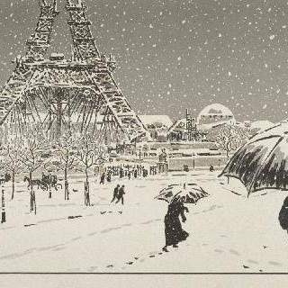 건축중인 에펠탑, 트로카데로에서 본 전경