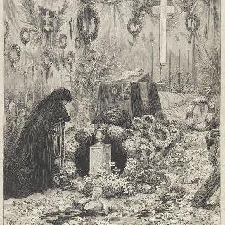 캄덴 하우스의 황세자의 관 앞에서 기도하고 있는 외제니 황후