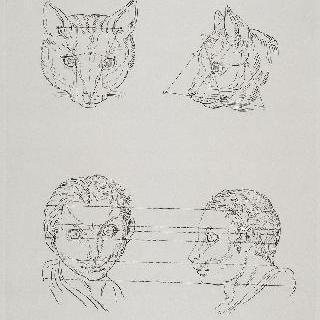 판 8 : 고양이의 머리 두 개와 고양이와 연관된 인간 두상 두 개