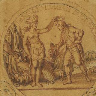 다니엘 모르강 장군의 원틀 장식에 대한 첫 번째 도안