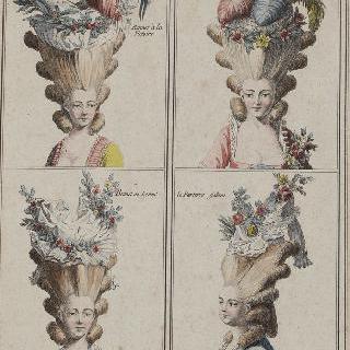 유행에 대한 조판 : 1776년부터의 머리 유행에 따른 프랑스 의상들
