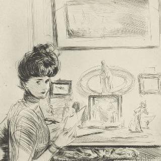 손에 편지를 들고 있는 엘뤠 부인