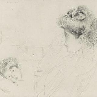 여자 두상, 왼쪽 프로필, 침대 위의 아이