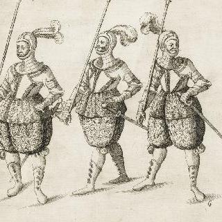 갑옷을 입은 세 명의 수비대