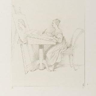 앉아서 그림을 그리고 있는 마리 도를레앙 공주 전신 모습
