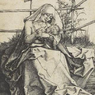 잔디 자리 위의 성모와 아기 예수