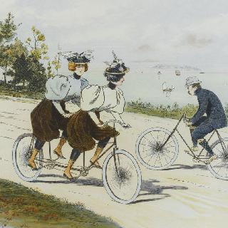 석판화 시리즈 : 자전거 경기. 2인승 자전거