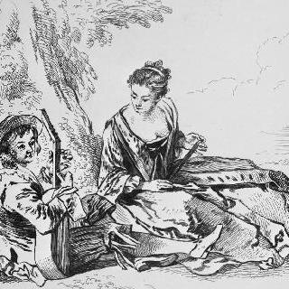 나무 밑둥에 앉아 있는 젊은 여자와 기타리스트