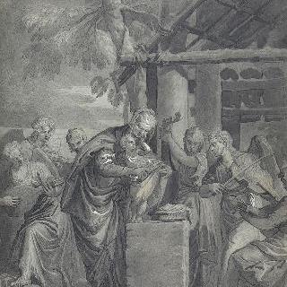 파올로 베로네즈 풍의, 여섯 음악천사들에 둘러싸인 성모와 아기
